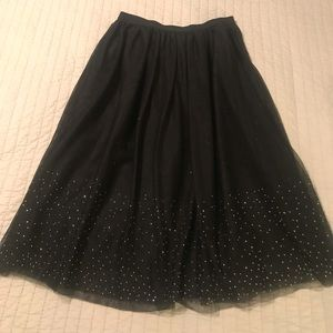 Black A-Line Skirt with silver details